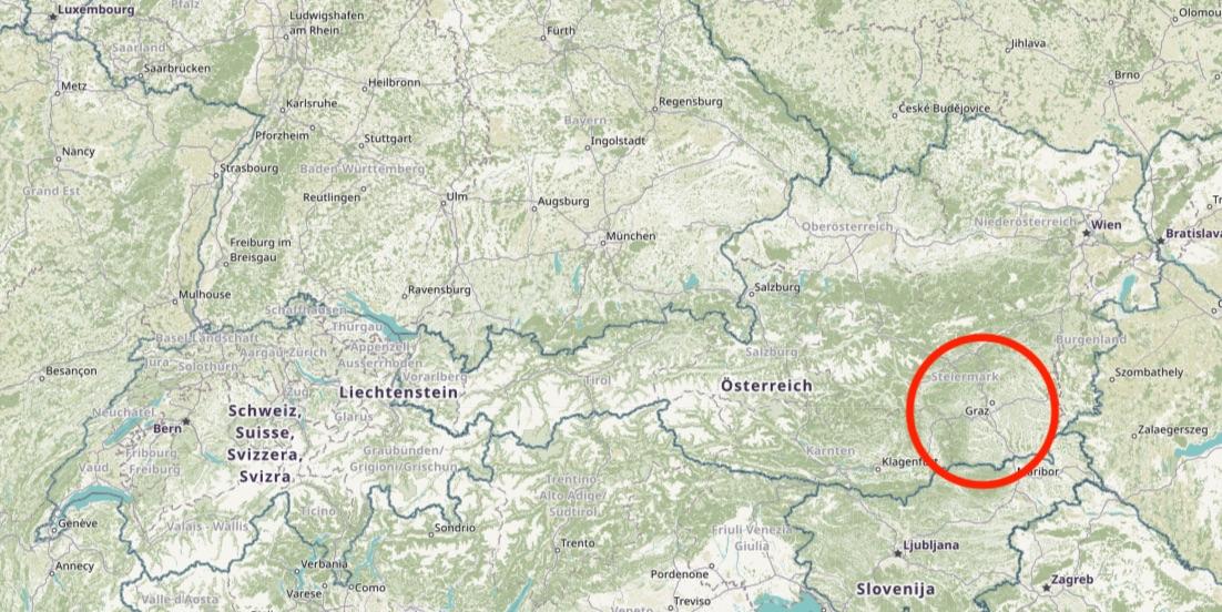 Waar ligt Graz